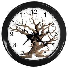 Tree Isolated Dead Plant Weathered Wall Clocks (black) by Nexatart