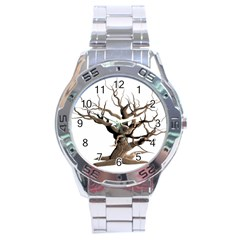 Tree Isolated Dead Plant Weathered Stainless Steel Analogue Watch by Nexatart
