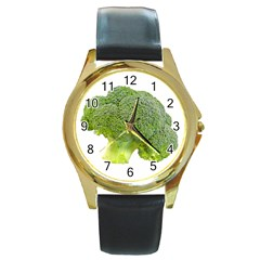 Broccoli Bunch Floret Fresh Food Round Gold Metal Watch