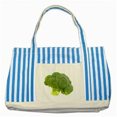 Broccoli Bunch Floret Fresh Food Striped Blue Tote Bag by Nexatart