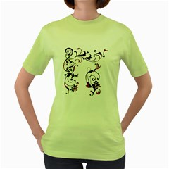 Scroll Border Swirls Abstract Women s Green T Shirt