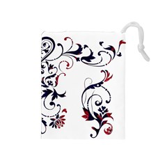 Scroll Border Swirls Abstract Drawstring Pouches (medium)  by Nexatart