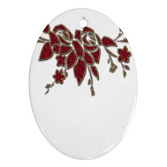 Scrapbook Element Nature Flowers Oval Ornament (two Sides)