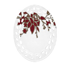 Scrapbook Element Nature Flowers Oval Filigree Ornament (two Sides) by Nexatart