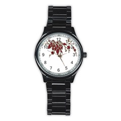 Scrapbook Element Nature Flowers Stainless Steel Round Watch