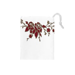 Scrapbook Element Nature Flowers Drawstring Pouches (small)  by Nexatart