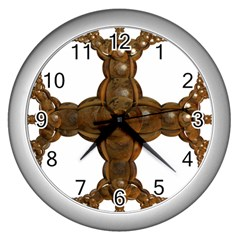 Cross Golden Cross Design 3d Wall Clocks (silver)  by Nexatart