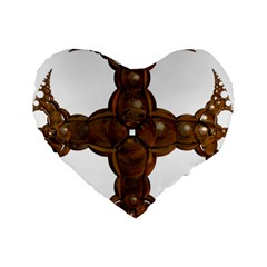 Cross Golden Cross Design 3d Standard 16  Premium Heart Shape Cushions