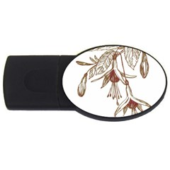 Floral Spray Gold And Red Pretty Usb Flash Drive Oval (4 Gb) by Nexatart