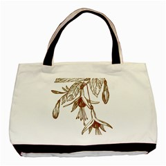 Floral Spray Gold And Red Pretty Basic Tote Bag (two Sides)