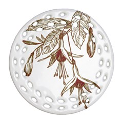 Floral Spray Gold And Red Pretty Round Filigree Ornament (two Sides) by Nexatart