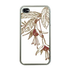 Floral Spray Gold And Red Pretty Apple Iphone 4 Case (clear)