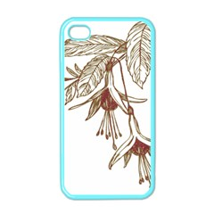 Floral Spray Gold And Red Pretty Apple Iphone 4 Case (color) by Nexatart