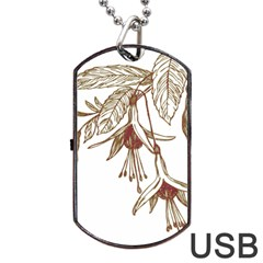 Floral Spray Gold And Red Pretty Dog Tag Usb Flash (two Sides) by Nexatart