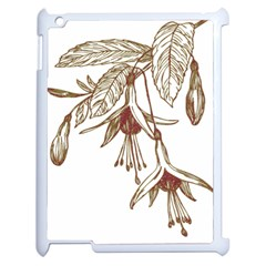 Floral Spray Gold And Red Pretty Apple Ipad 2 Case (white)
