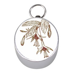 Floral Spray Gold And Red Pretty Mini Silver Compasses by Nexatart