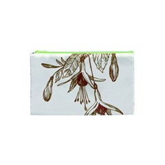 Floral Spray Gold And Red Pretty Cosmetic Bag (xs)
