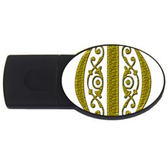 Gold Scroll Design Ornate Ornament Usb Flash Drive Oval (2 Gb) by Nexatart
