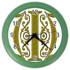 Gold Scroll Design Ornate Ornament Color Wall Clocks by Nexatart