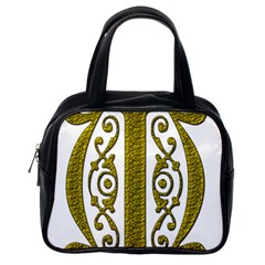 Gold Scroll Design Ornate Ornament Classic Handbags (one Side) by Nexatart