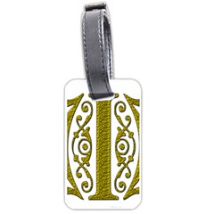 Gold Scroll Design Ornate Ornament Luggage Tags (one Side)  by Nexatart