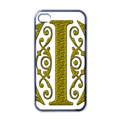 Gold Scroll Design Ornate Ornament Apple Iphone 4 Case (black) by Nexatart