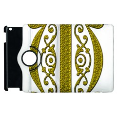 Gold Scroll Design Ornate Ornament Apple Ipad 3/4 Flip 360 Case by Nexatart