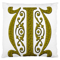 Gold Scroll Design Ornate Ornament Large Flano Cushion Case (two Sides) by Nexatart