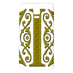 Gold Scroll Design Ornate Ornament Galaxy Note 4 Back Case by Nexatart