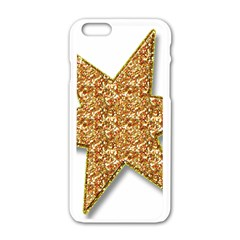 Star Glitter Apple Iphone 6/6s White Enamel Case by Nexatart