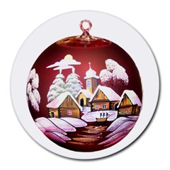 Christmas Decor Christmas Ornaments Round Mousepads by Nexatart