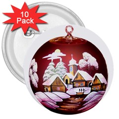 Christmas Decor Christmas Ornaments 3  Buttons (10 Pack)