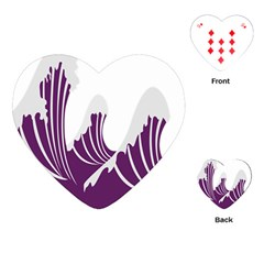 Waves Purple Wave Water Chevron Sea Beach Playing Cards (heart)  by Mariart
