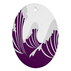 Waves Purple Wave Water Chevron Sea Beach Oval Ornament (two Sides) by Mariart