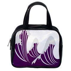 Waves Purple Wave Water Chevron Sea Beach Classic Handbags (one Side) by Mariart