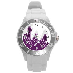 Waves Purple Wave Water Chevron Sea Beach Round Plastic Sport Watch (l) by Mariart
