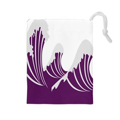 Waves Purple Wave Water Chevron Sea Beach Drawstring Pouches (large)  by Mariart