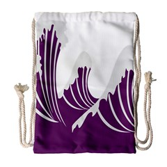 Waves Purple Wave Water Chevron Sea Beach Drawstring Bag (large) by Mariart