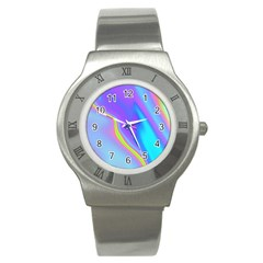 Aurora Color Rainbow Space Blue Sky Purple Yellow Stainless Steel Watch