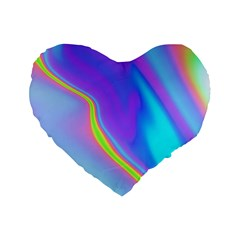 Aurora Color Rainbow Space Blue Sky Purple Yellow Standard 16  Premium Flano Heart Shape Cushions by Mariart
