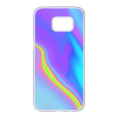 Aurora Color Rainbow Space Blue Sky Purple Yellow Samsung Galaxy S7 Edge White Seamless Case by Mariart