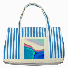 Aurora Color Rainbow Space Blue Sky Purple Yellow Green Striped Blue Tote Bag by Mariart
