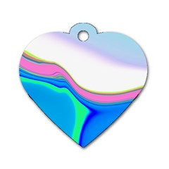 Aurora Color Rainbow Space Blue Sky Purple Yellow Green Dog Tag Heart (two Sides) by Mariart