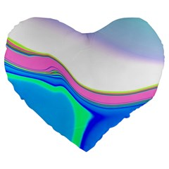Aurora Color Rainbow Space Blue Sky Purple Yellow Green Large 19  Premium Heart Shape Cushions by Mariart