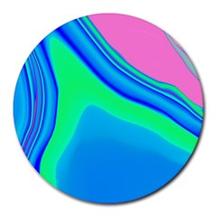 Aurora Color Rainbow Space Blue Sky Round Mousepads by Mariart