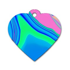 Aurora Color Rainbow Space Blue Sky Dog Tag Heart (one Side) by Mariart
