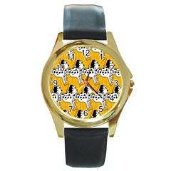 Animals Cat Dog Dalmation Round Gold Metal Watch