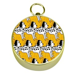 Animals Cat Dog Dalmation Gold Compasses by Mariart