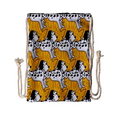 Animals Cat Dog Dalmation Drawstring Bag (small) by Mariart