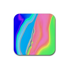 Aurora Color Rainbow Space Blue Sky Purple Yellow Green Pink Rubber Square Coaster (4 Pack)  by Mariart